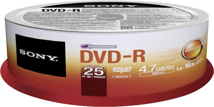 DVD-R 4.7 GB Sony 25DMR47SP, 25 ks, vřeteno
