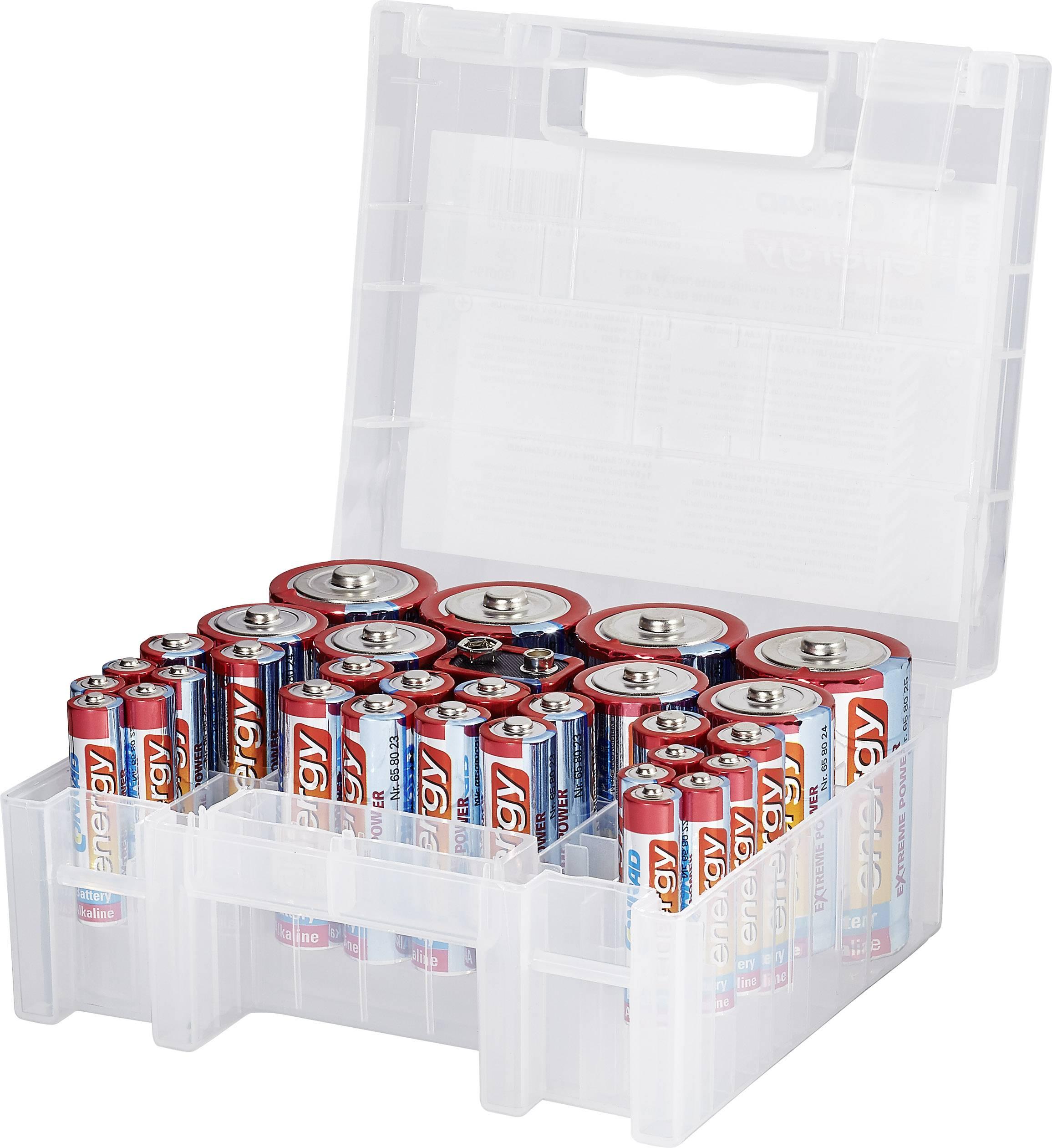 Sada alkalických batérií Conrad energy Extreme Power, AAA, AA, C, D, 9V, 31 ks