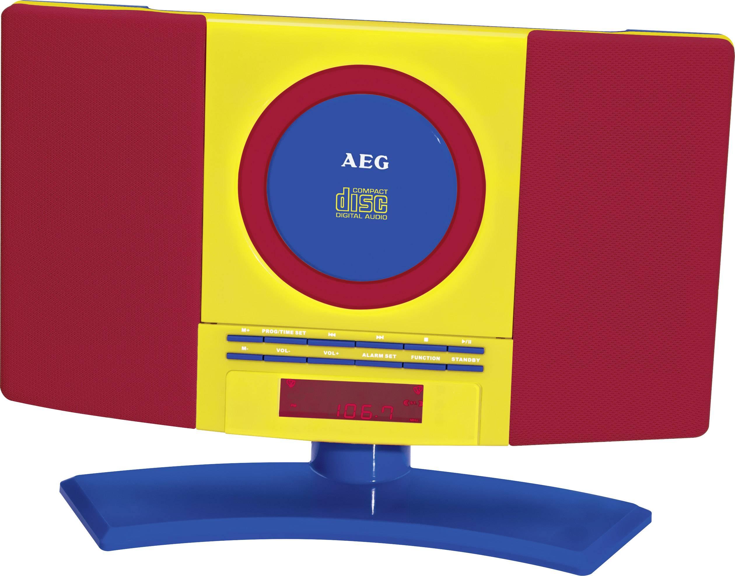 Dětský CD přehrávač AEG MC 4464 Kids Line AUX, CD, FM montáž na stěnu, červená, barevná