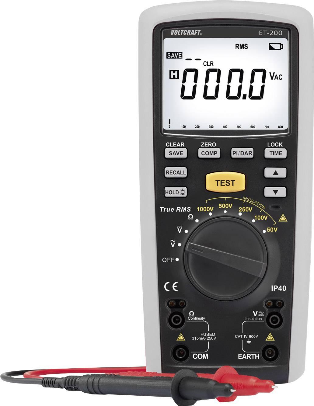 Multimeter s meraním izolácie Voltcraft ET-200, 1000 V, 20 GΩ