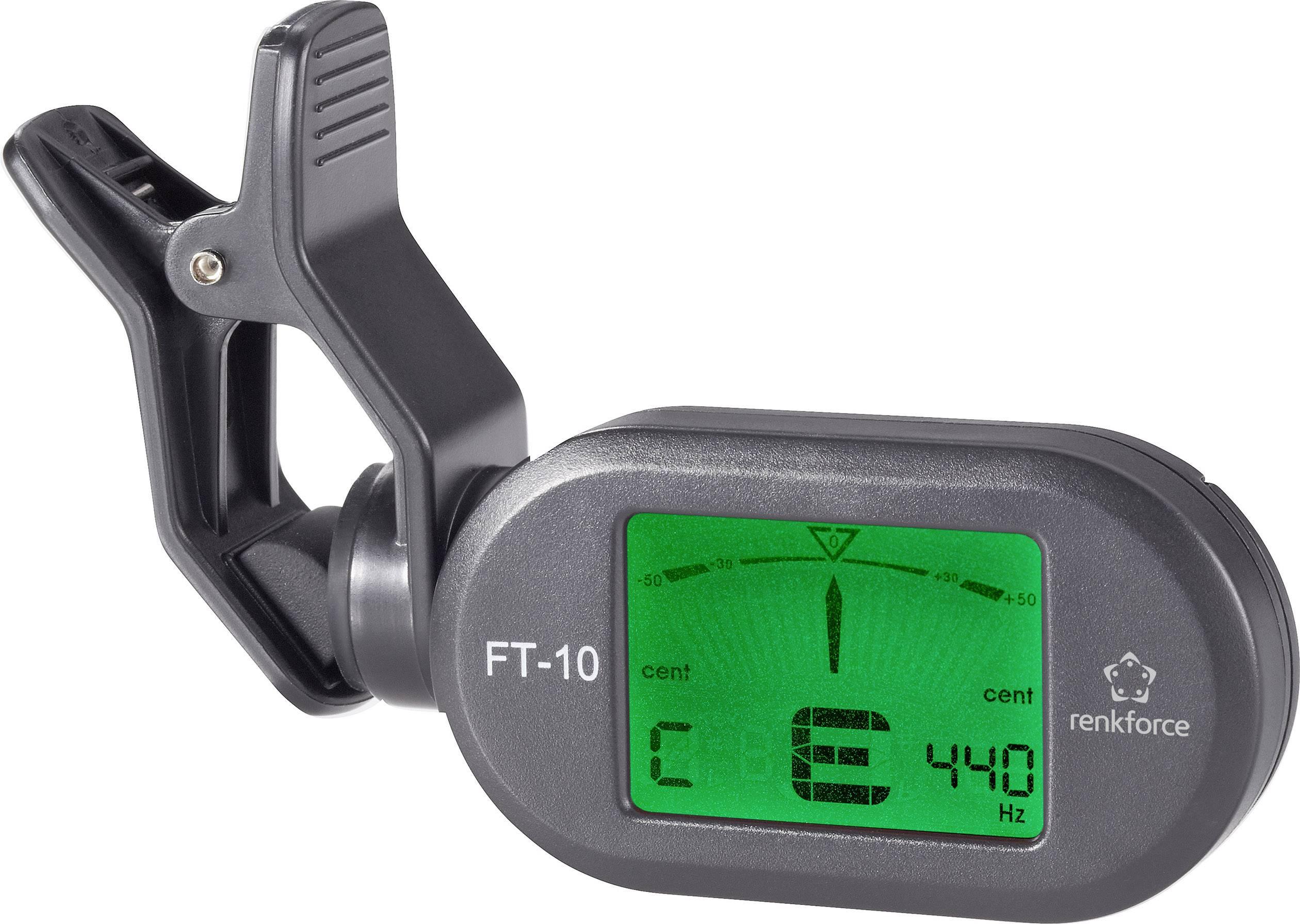 Kytarová ladička Renkforce FT-10, černá