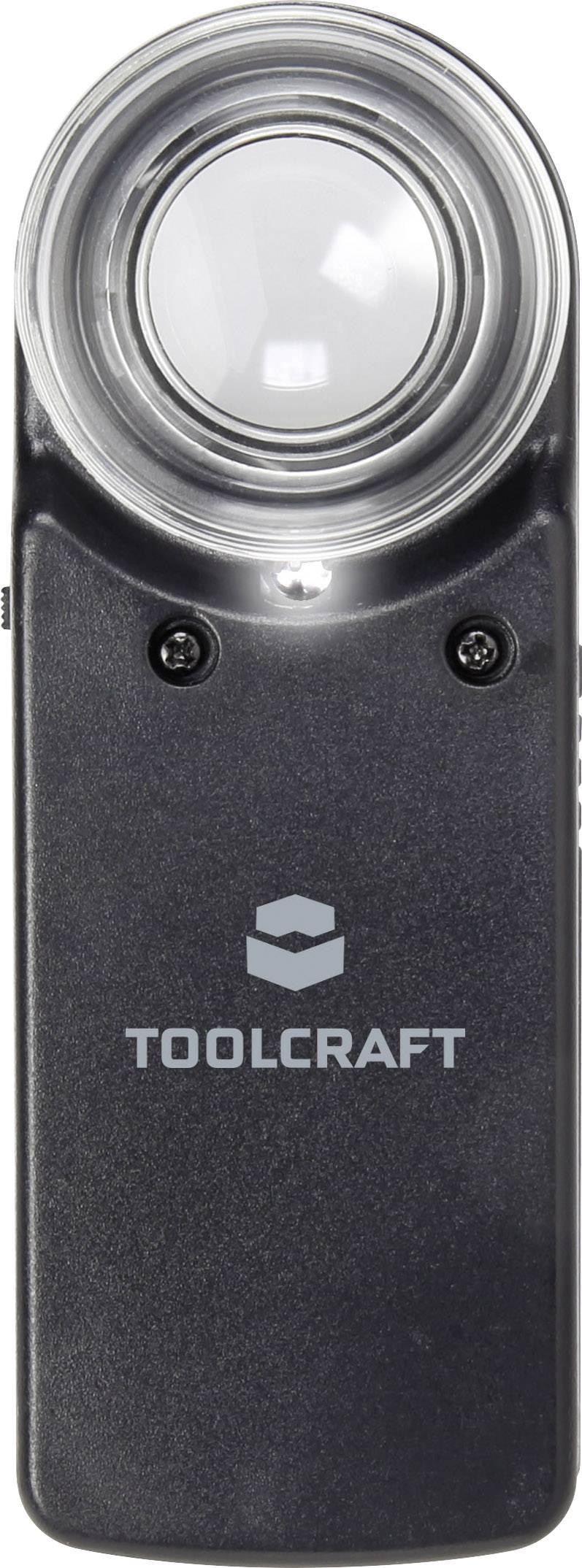 Ručná lupa s osvetlením TOOLCRAFT, zväčšenie 15x, Ø 20 mm