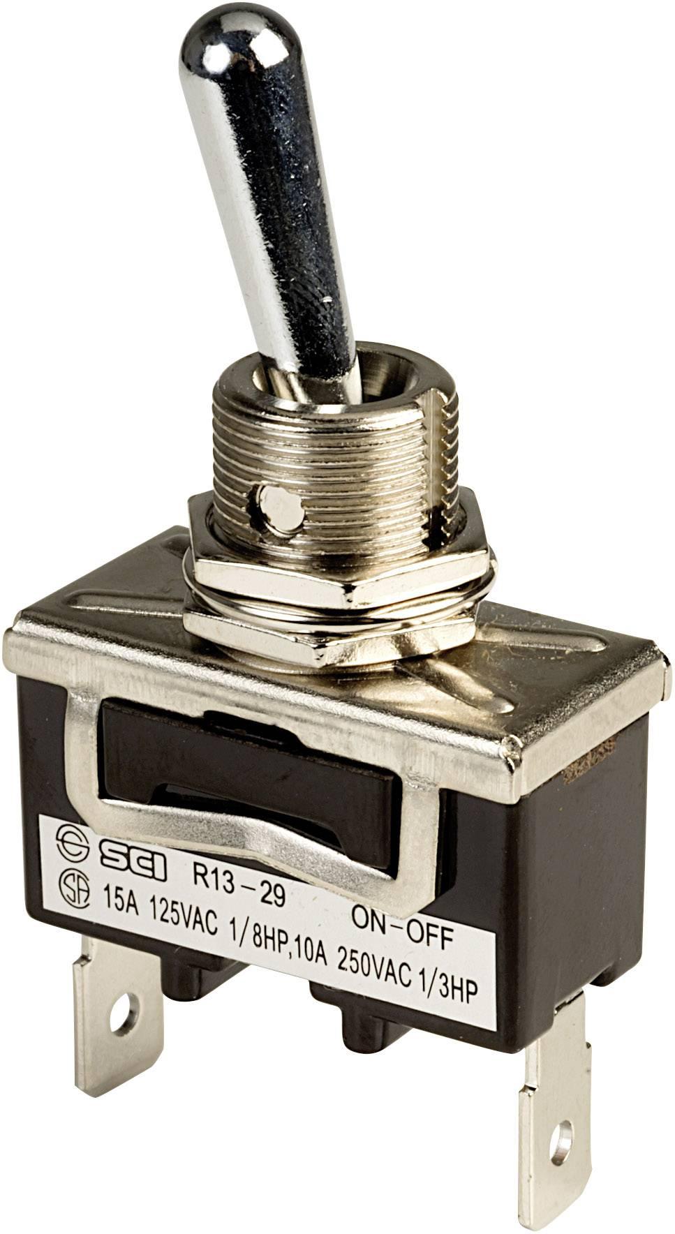 Páčkový spínač SCI R13-29A-01A-HWH, 250 V/AC, 10 A, 1x vyp/zap, 1 ks