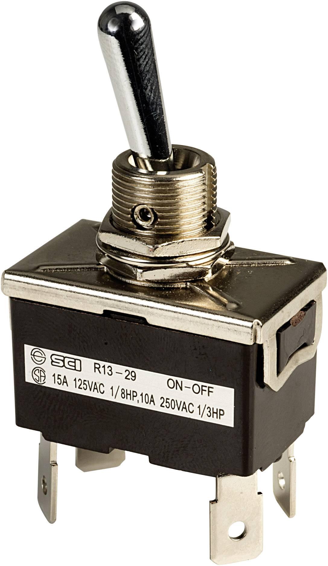 Páčkový spínač SCI R13-29F, 250 V/AC, 10 A, 2x vyp/zap, 1 ks