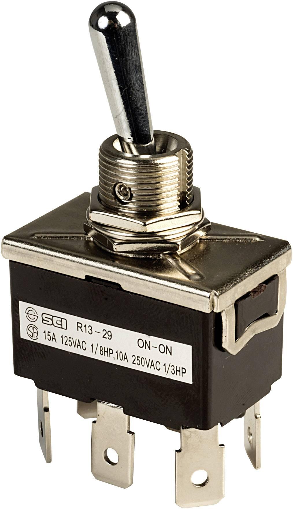 Páčkový spínač SCI R13-29B, 250 V/AC, 10 A, 2x zap/zap, 1 ks
