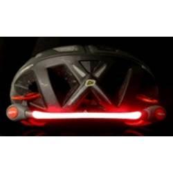 Bezpečnostní LED svítidlo na helmu G053b, svítící pásek, červená/černá