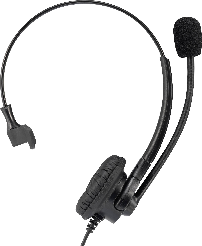 Telefonní headset QD (rychlé odpojení) na kabel, mono Basetech KJ-380M na uši