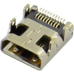 HDMI konektor Attend 206H-SDAN-R01 - zásuvka, vestavná horizontální, stříbrná, pozlacené kontakty, 1 ks