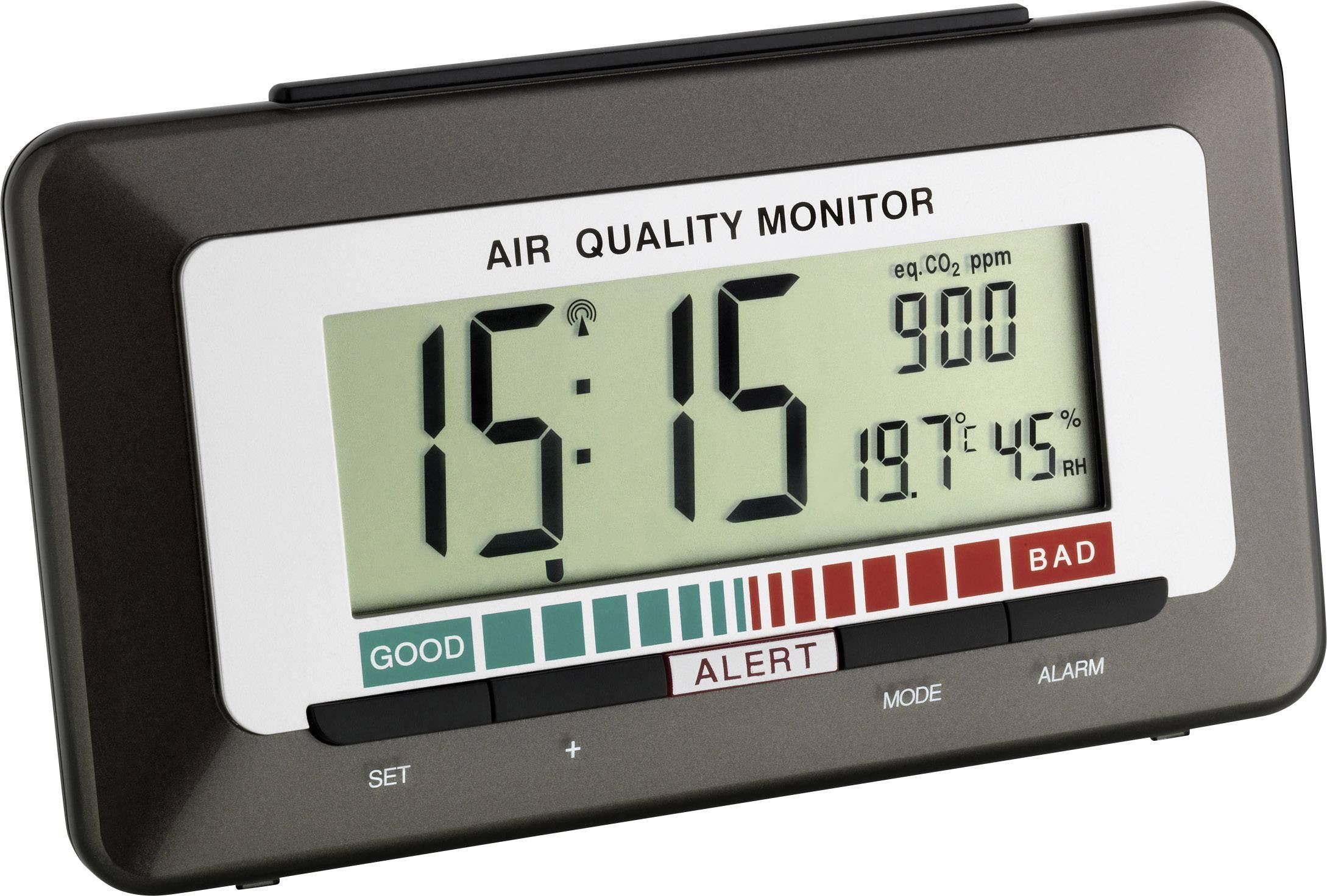 DCF budík s ukazateľom kvality ovzdušia TFA 60.2527.10, časov budenia 1, antracitová