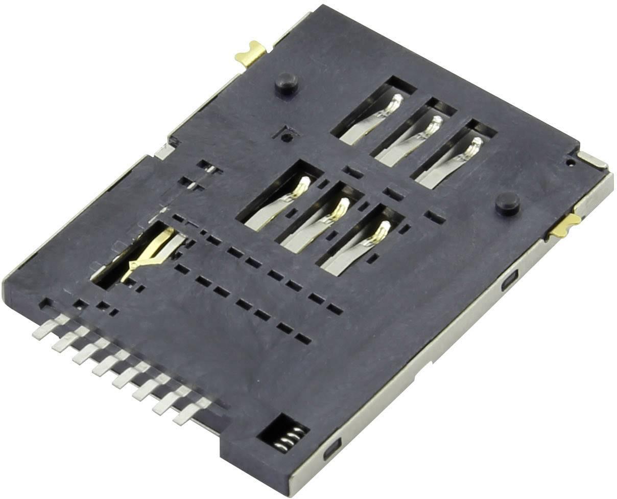 Zásuvka na kartu SIM Attend 115A-ADA0-R02, počet kontaktů 6 + 2, 1 ks