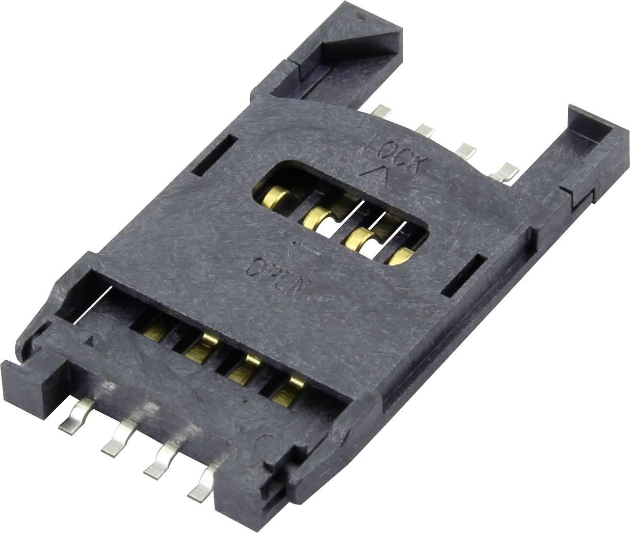 Zásuvka na kartu SIM Attend 115F-ACA0-R, počet kontaktů 6 + 2, 1 ks