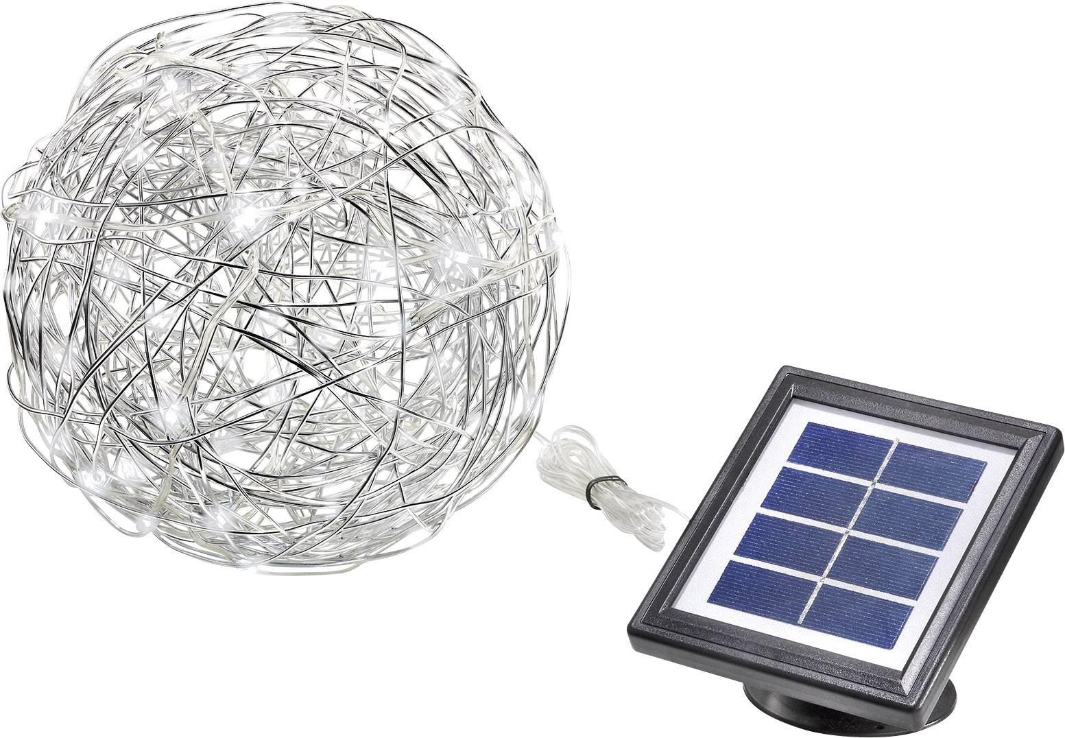 LED solárne dekoračné osvetlenie guľa Esotec Wireball 102112, IP44, hliník, denné svetlo