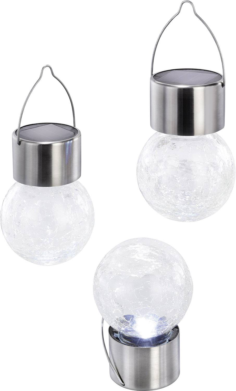 LED solárne dekoračné osvetlenie Esotec Crackle Ball 102304, chladná biela, sada 3 ks