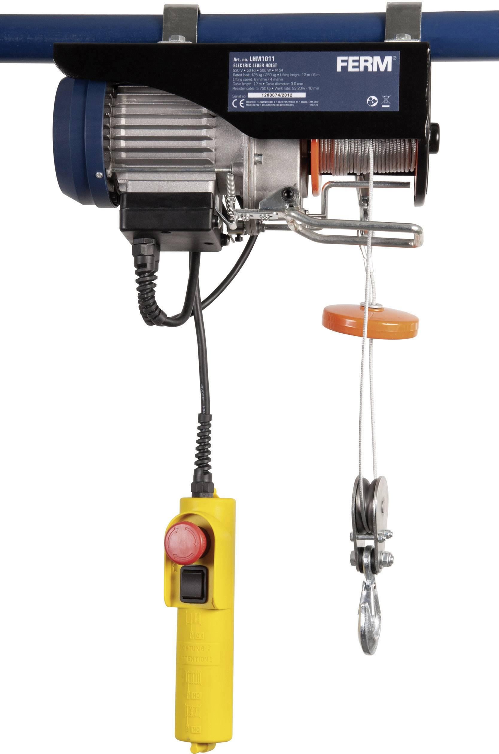 Elektrický lanový kladkostroj Ferm LHM1011, 125 kg/250 kg, zdvih 12/6