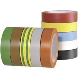 Izolační páska HellermannTyton 710-00146 710-00146, (d x š) 10 m x 15 mm, červená, šedá, žlutá, zelená, modrá, oranžová, bílá, hnědá, černá, 10 ks
