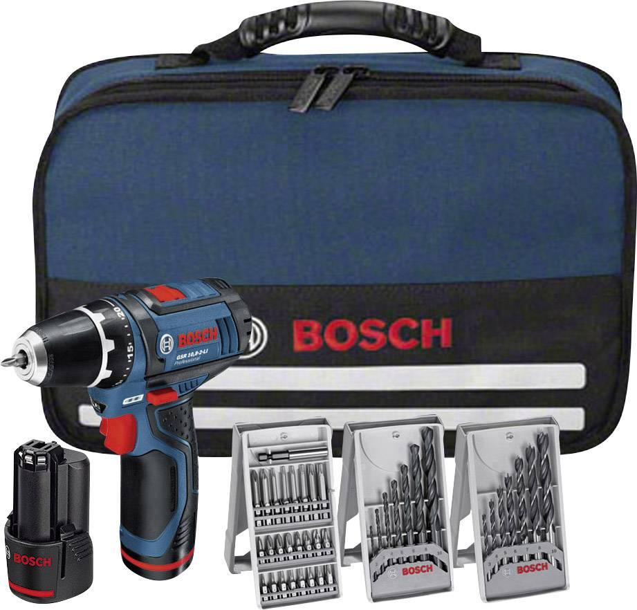 Aku skrutkovač Bosch GSR 10,8-2-LI, 2x aku + vrtáky a brašna