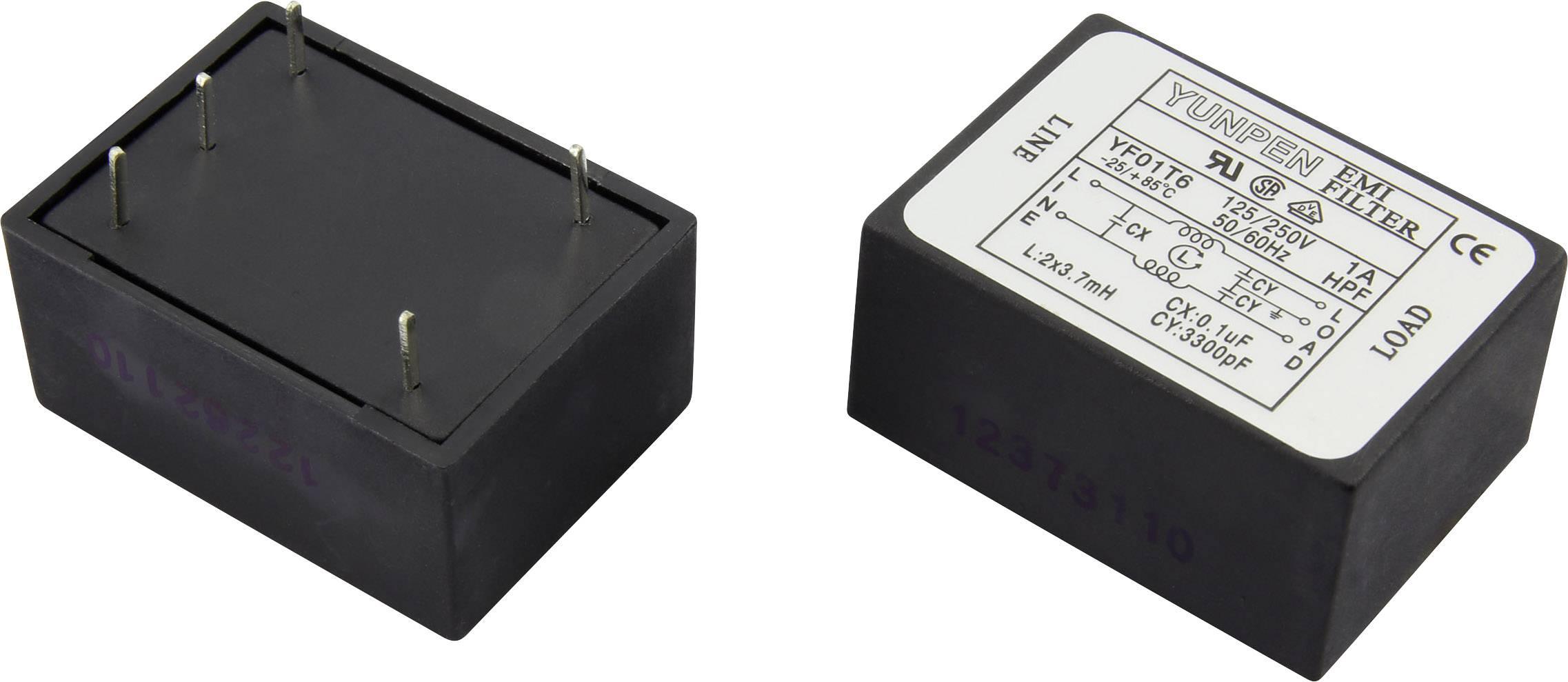 Odrušovací filtr Yunpen YF01T6 1326735, 250 V/AC, 1 A, 3.7 mH, (d x š x v) 41 x 30 x 20.3 mm, 1 ks