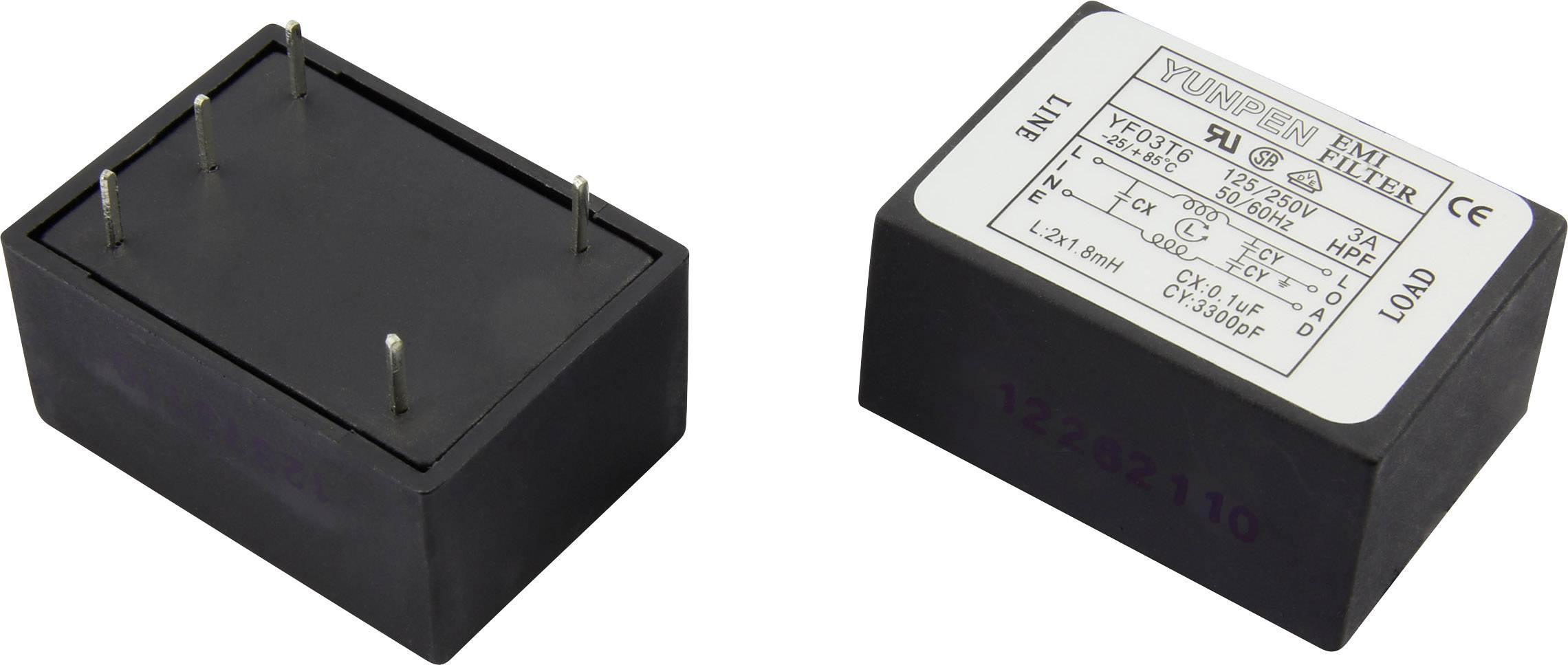 Odrušovací filtr Yunpen YF03T6 1326736, 250 V/AC, 3 A, 1.8 mH, (d x š x v) 41 x 30 x 20.3 mm, 1 ks