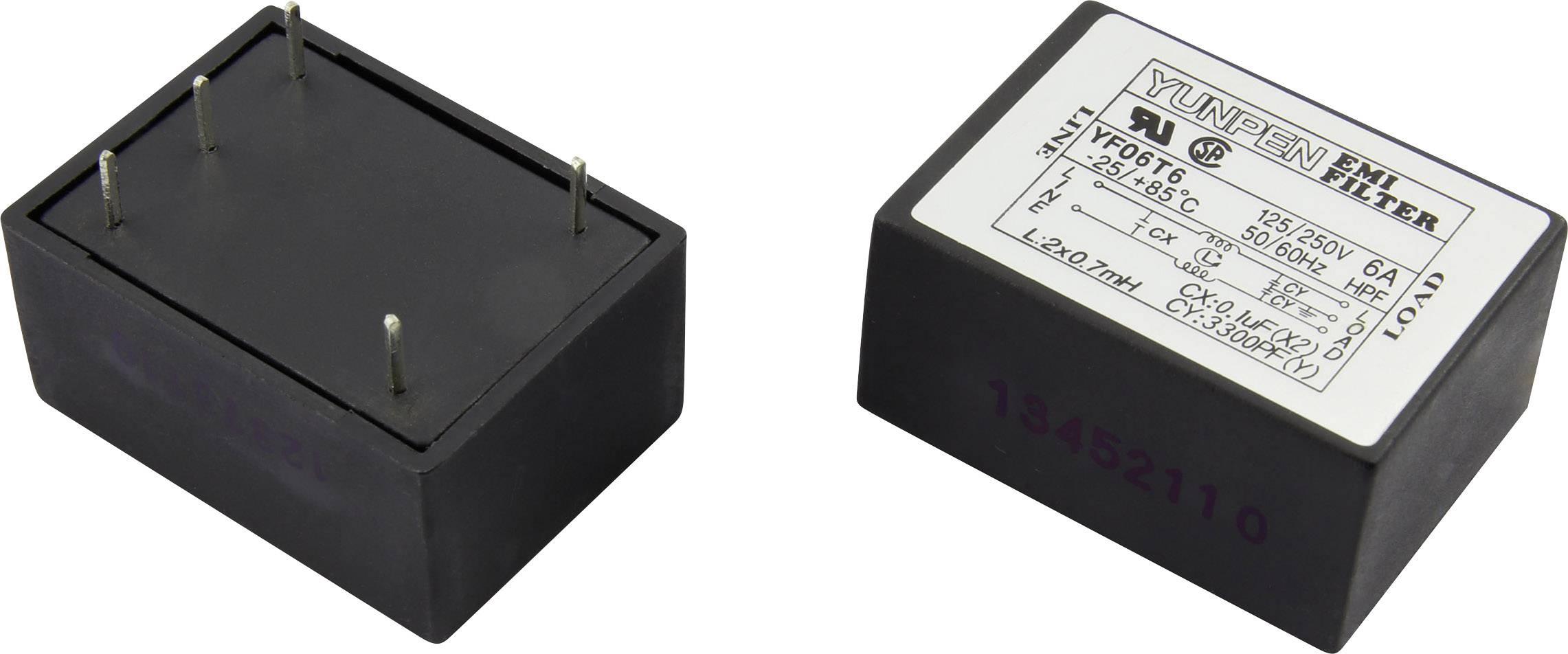 Odrušovací filtr Yunpen YF06T6, 250 V/AC, 6 A, 0.7 mH, (d x š x v) 41 x 30 x 20.3 mm, 1 ks