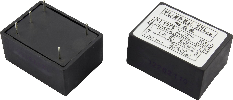Odrušovací filtr Yunpen YF10T6 1326738, 250 V/AC, 10 A, 0.3 mH, (d x š x v) 41 x 30 x 20.3 mm, 1 ks