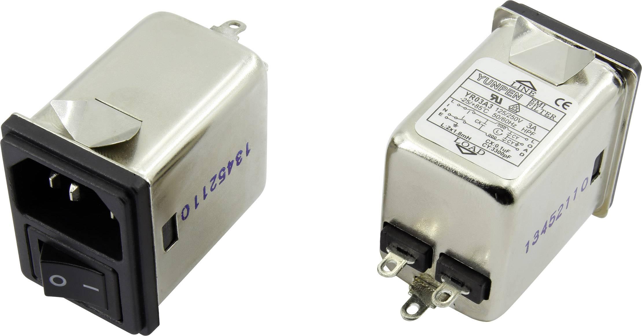 Odrušovací filtr Yunpen YR03A3, se spínačem, s IEC zásuvkou 250 V/AC, 3 A, 1.8 mH, (d x š x v) 41.1 x 31.6 x 56 mm, 1 ks