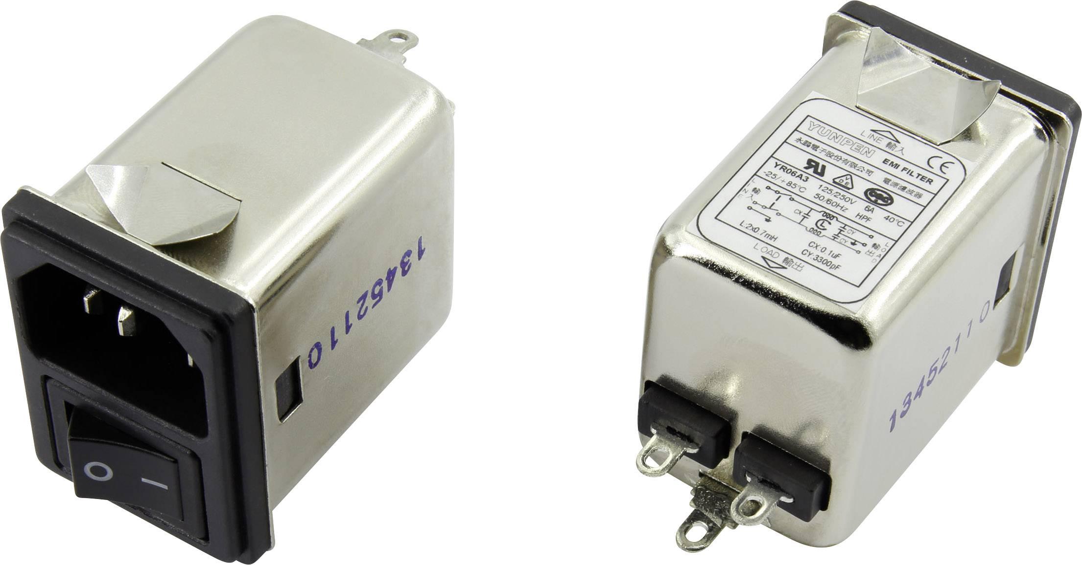 Odrušovací filtr Yunpen YR06A3, se spínačem, s IEC zásuvkou 250 V/AC, 6 A, 0.7 mH, (d x š x v) 41.1 x 31.6 x 56 mm, 1 ks