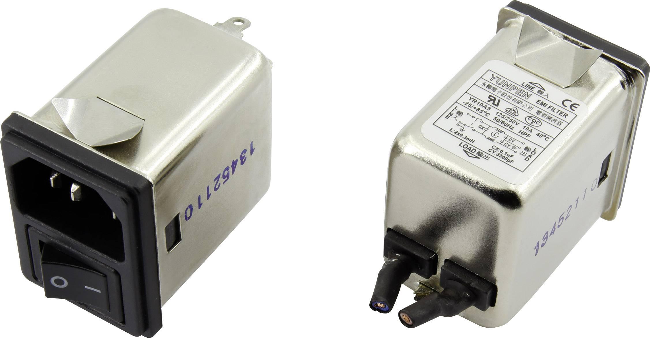 Odrušovací filtr Yunpen YR10A3, se spínačem, s IEC zásuvkou 250 V/AC, 10 A, 0.3 mH, (d x š x v) 41.1 x 31.6 x 56 mm, 1 ks