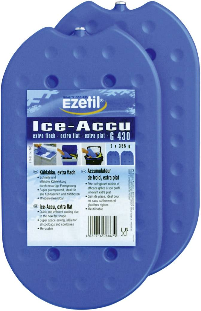 Chladicí akumulátory Ezetil IceAkku G430 2x385g, (d x š x v) 27 x 2.3 x 15.5 cm, 1 pár, modrá/ledově modrá