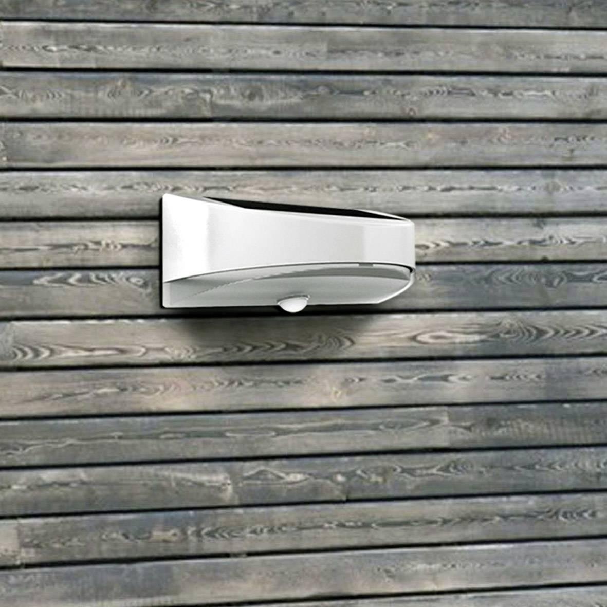 Vonkajšie solárne nástenné osvetlenie s PIR senzorom ECO-Light Bread P9015S, neutrálne biela, strieborná