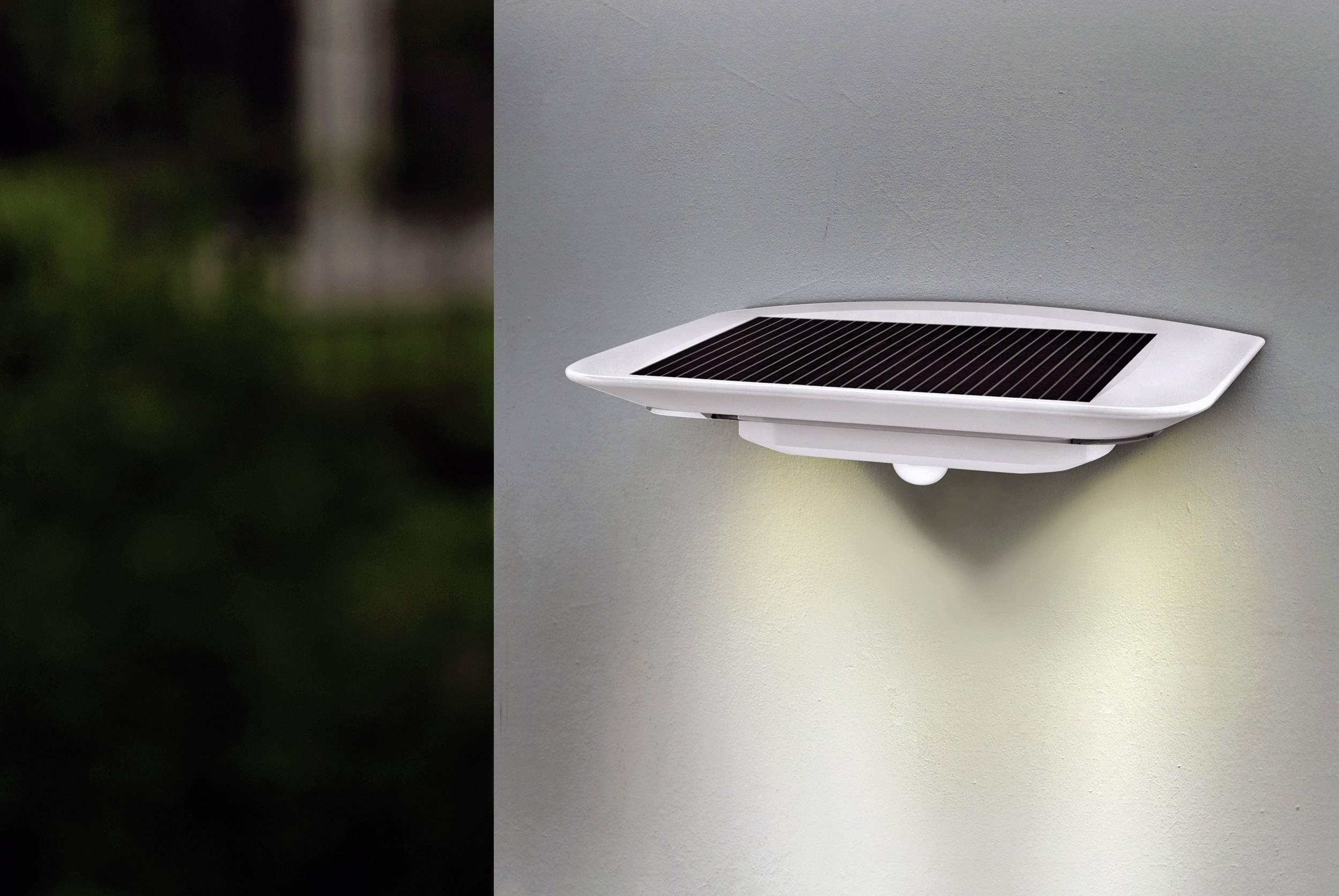Vonkajšie solárne nástenné osvetlenie s PIR senzorom ECO-Light Ghost Solar P9014 SI, neutrálne biela