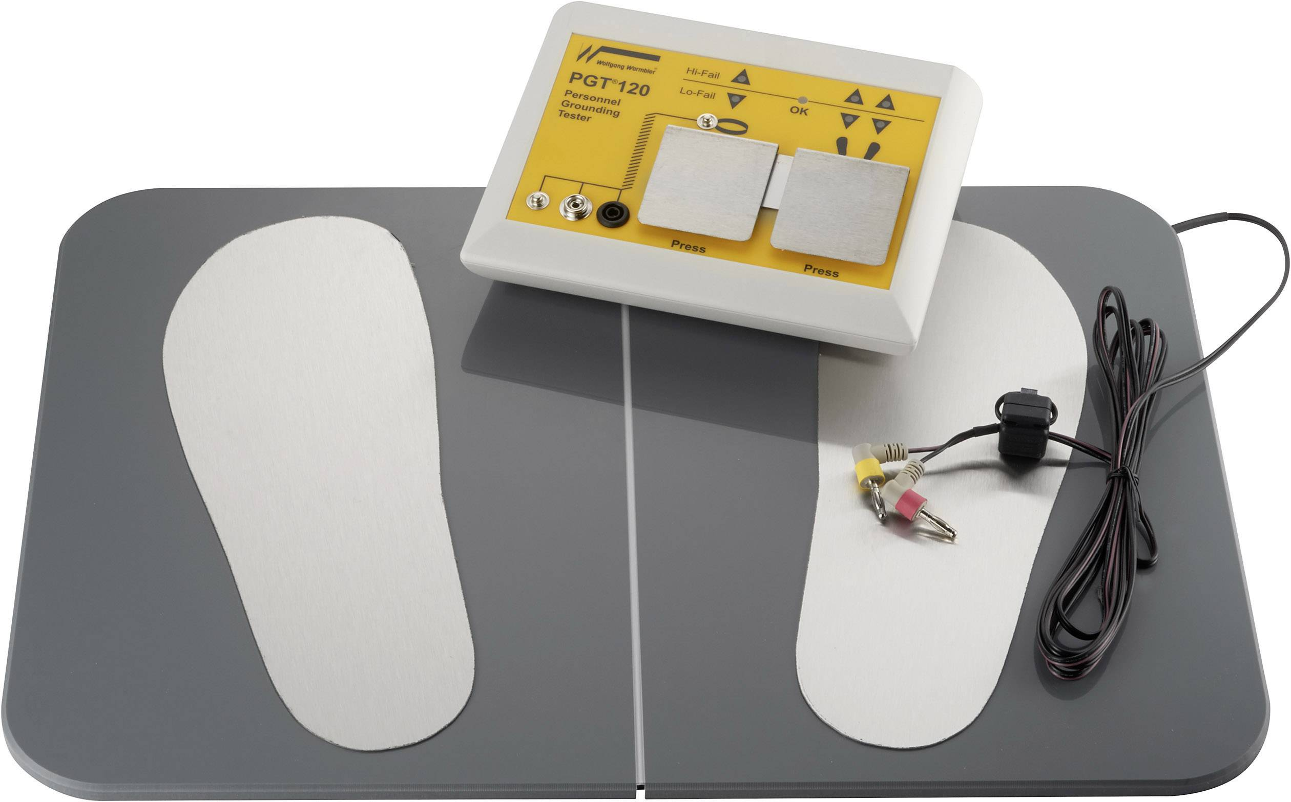 Sada ESD testerů Wolfgang Warmbier PGT®120 osobní uzemnění včetně nožní desky , včetně podnikového kalibračního listu