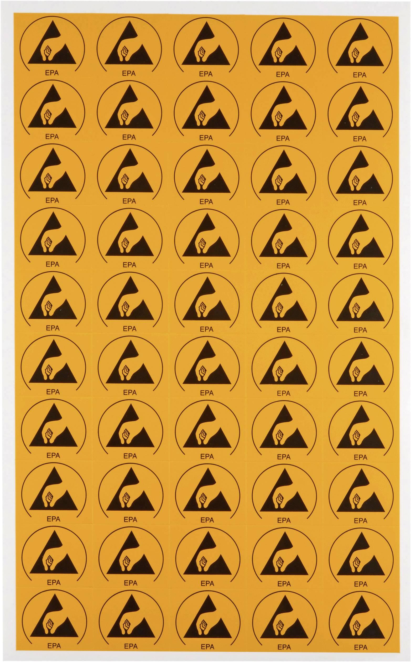 ESD označovací štítek Wolfgang Warmbier (d x š) 30 mm x 25 mm, 50 ks, žlutá, černá 2850.3025 samolepicí