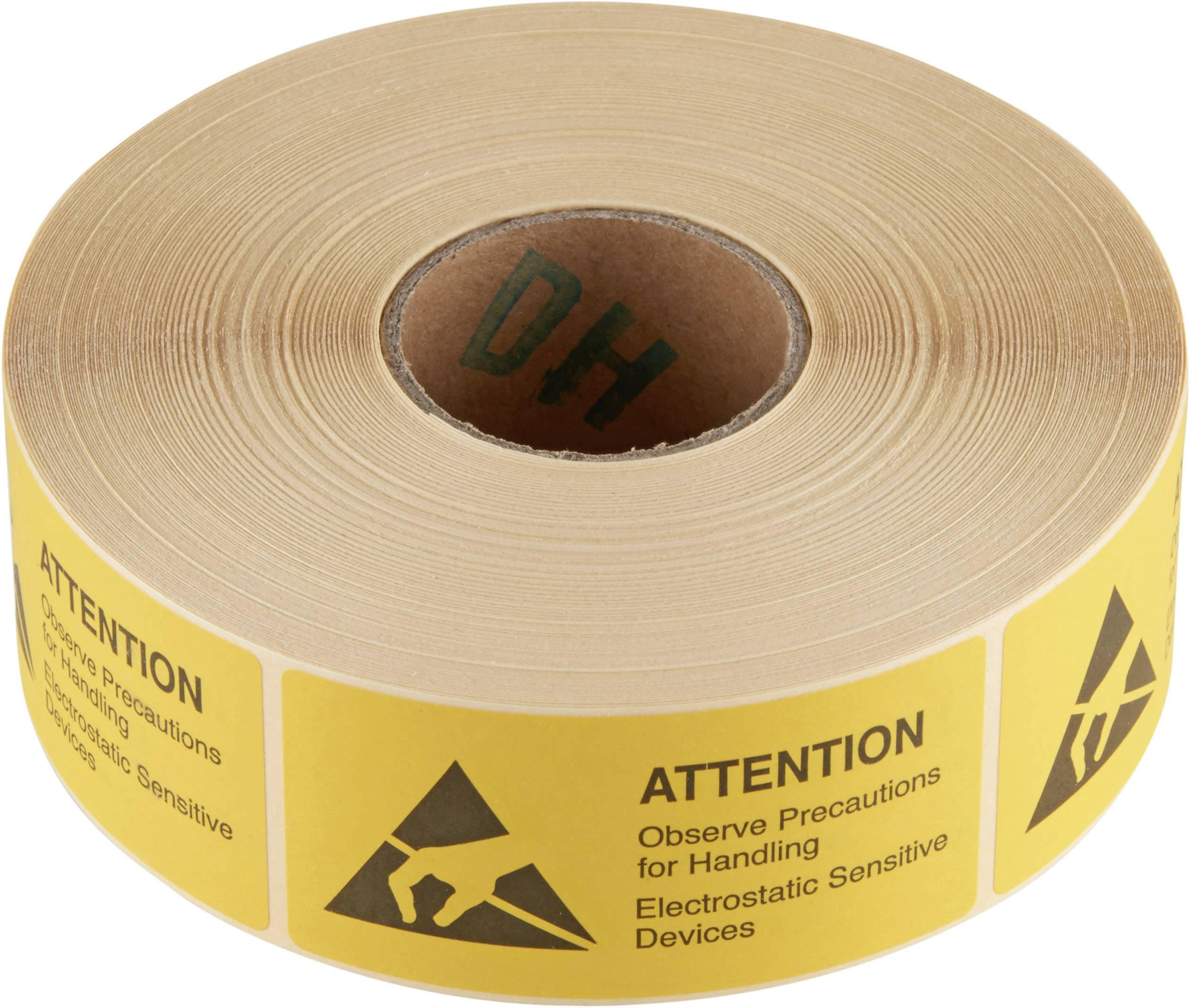 Samolepicí ESD výstražný štítek Wolfgang Warmbier 2850.3675.E, (d x š) 75 mm x 36 mm, 1000 ks, žlutá, černá
