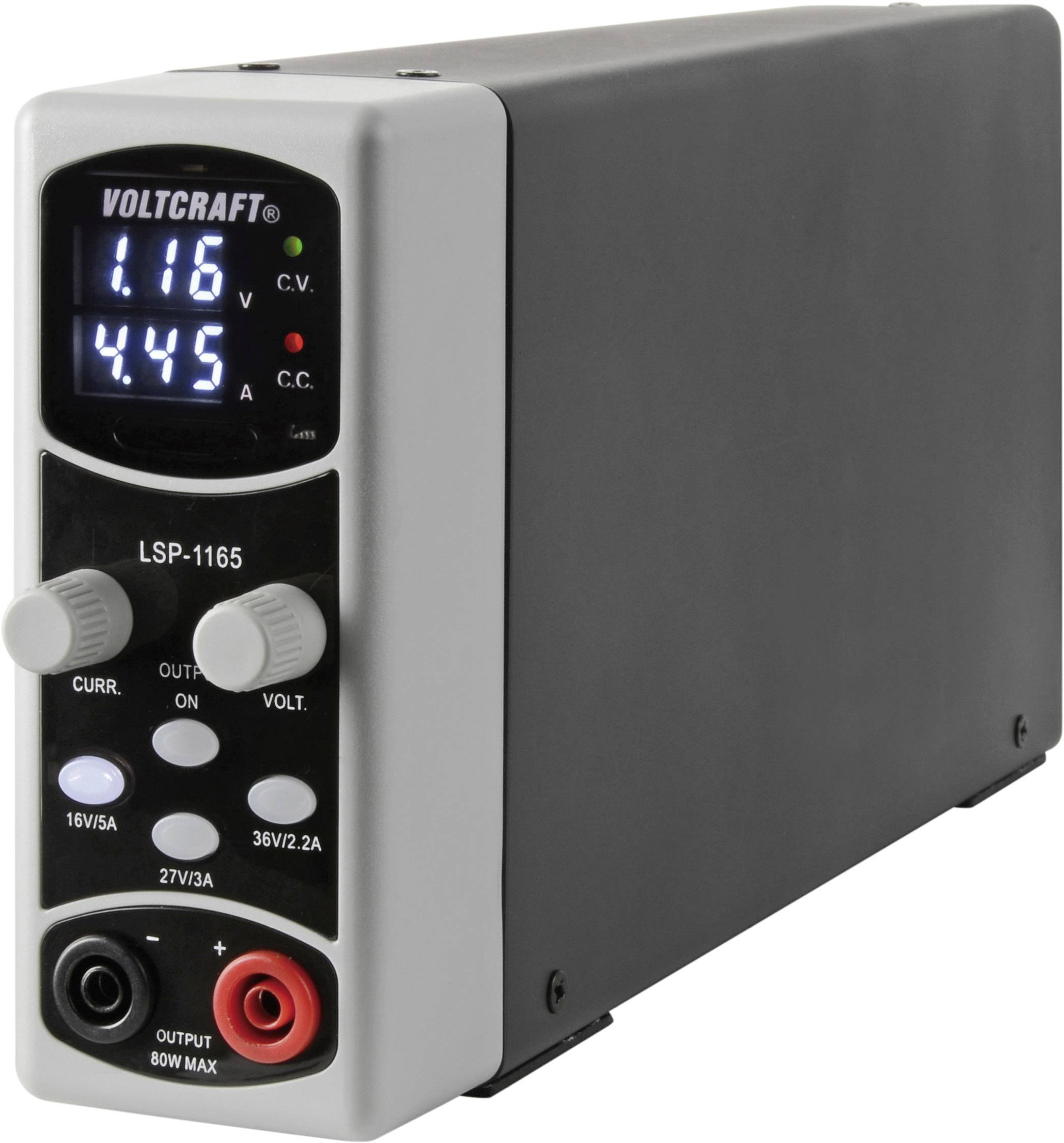 Laboratórny napájací zdroj Voltcraft LSP-1165, 0,1 - 36 V / DC, 5 A, 80 W