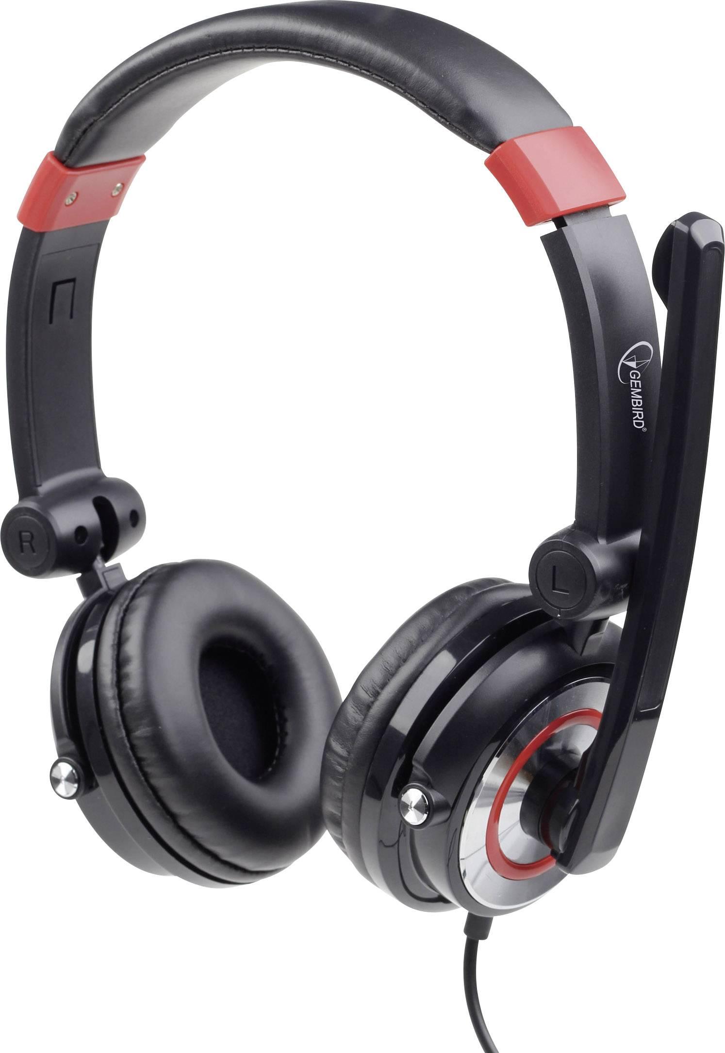 Headset k PC USB na kabel Gembird MHS-5.1-001 přes uši černá/červená