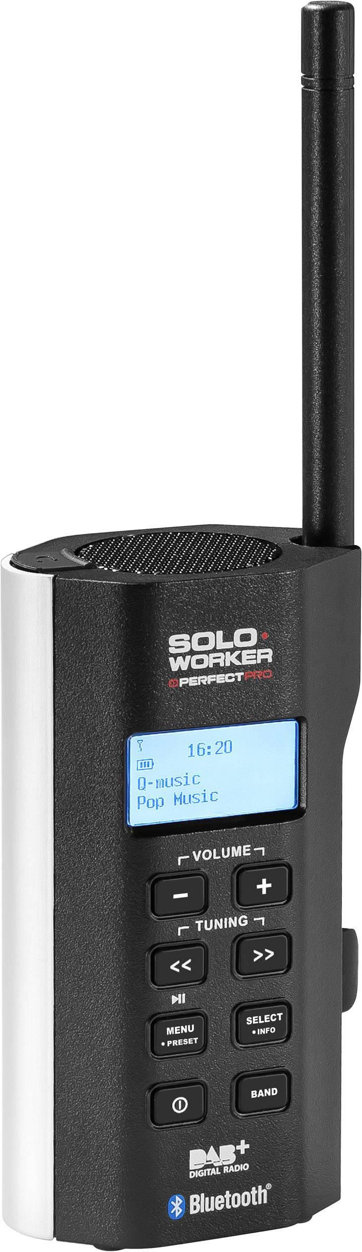DAB+ rádio na stavbu PerfectPro Soloworker DAB+ BT AUX, Bluetooth čierna