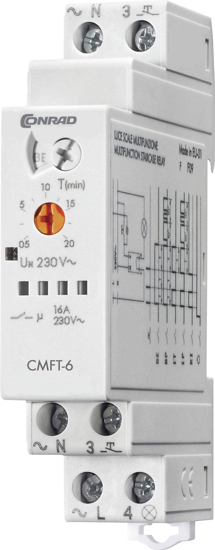 Schodišťové časové relé multifunkční Conrad Components CMFT-6, čas.rozsah: 0.5 - 20 min, 1 spínací kontakt, 1 ks