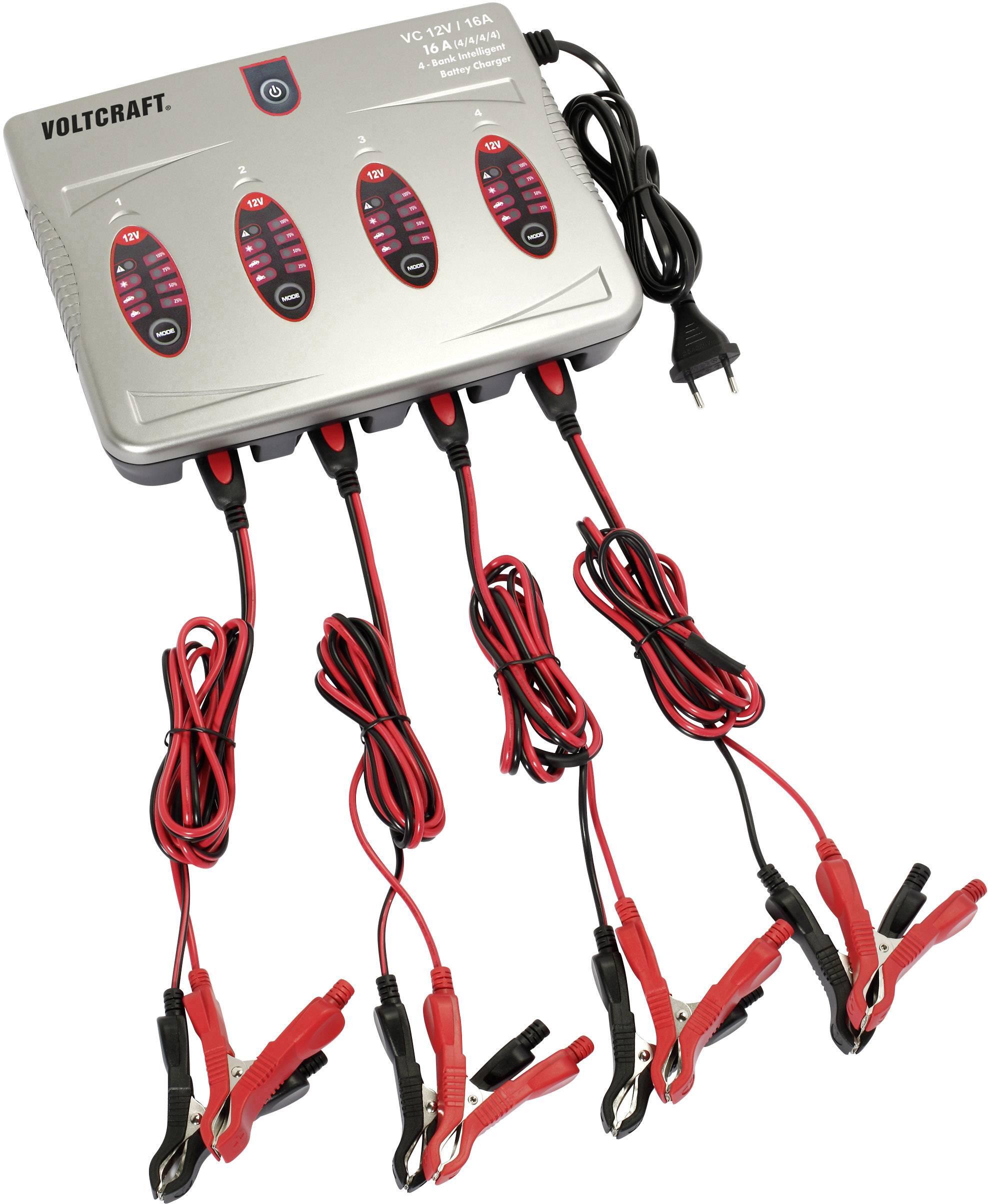 Automatická nabíjačka autobatérií Voltcraft, 16 A, 12 V, 4kanálové