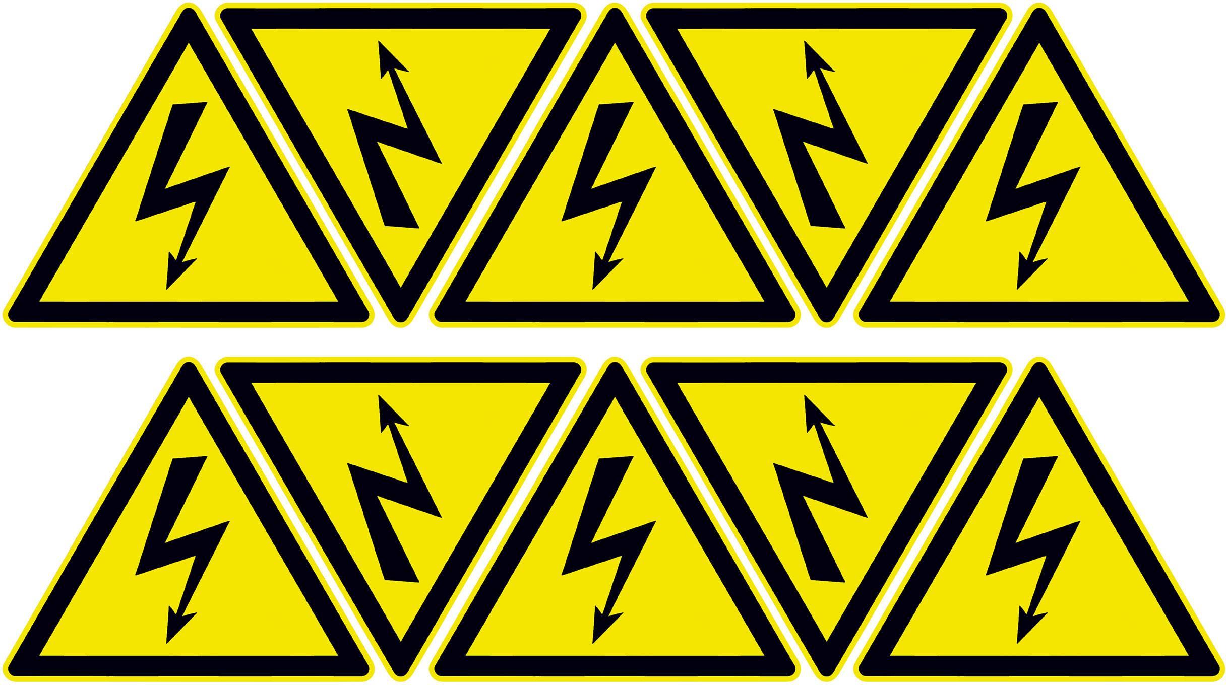 Výstraha - Riziko úrazu el. proudem, samolepky TE Connectivity ESSW 7-1768019-9, Vnější šířka 25 mm