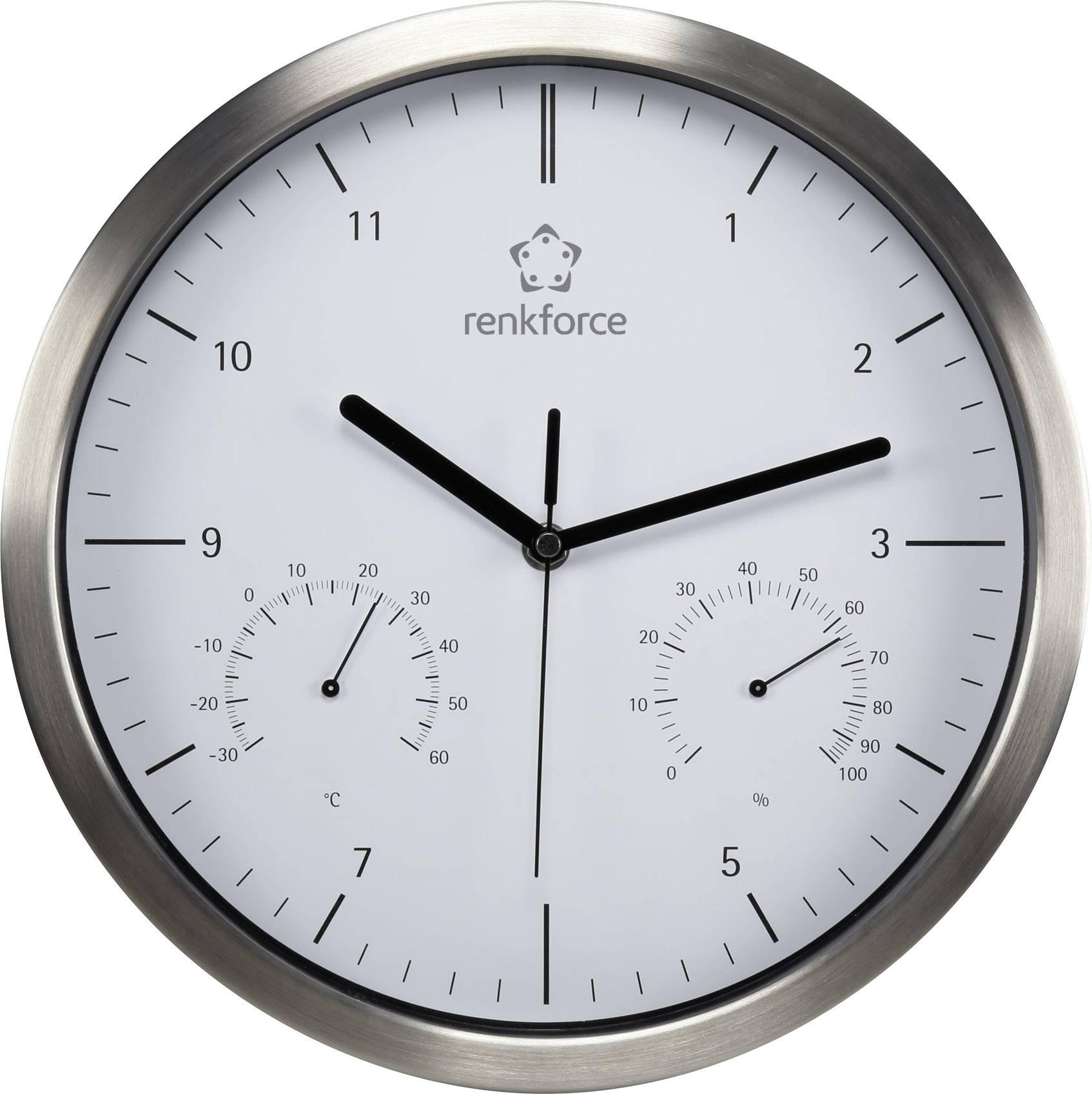 Nástenné hodiny Quarz RENKFORCE A1201, strieborná, 30 cm