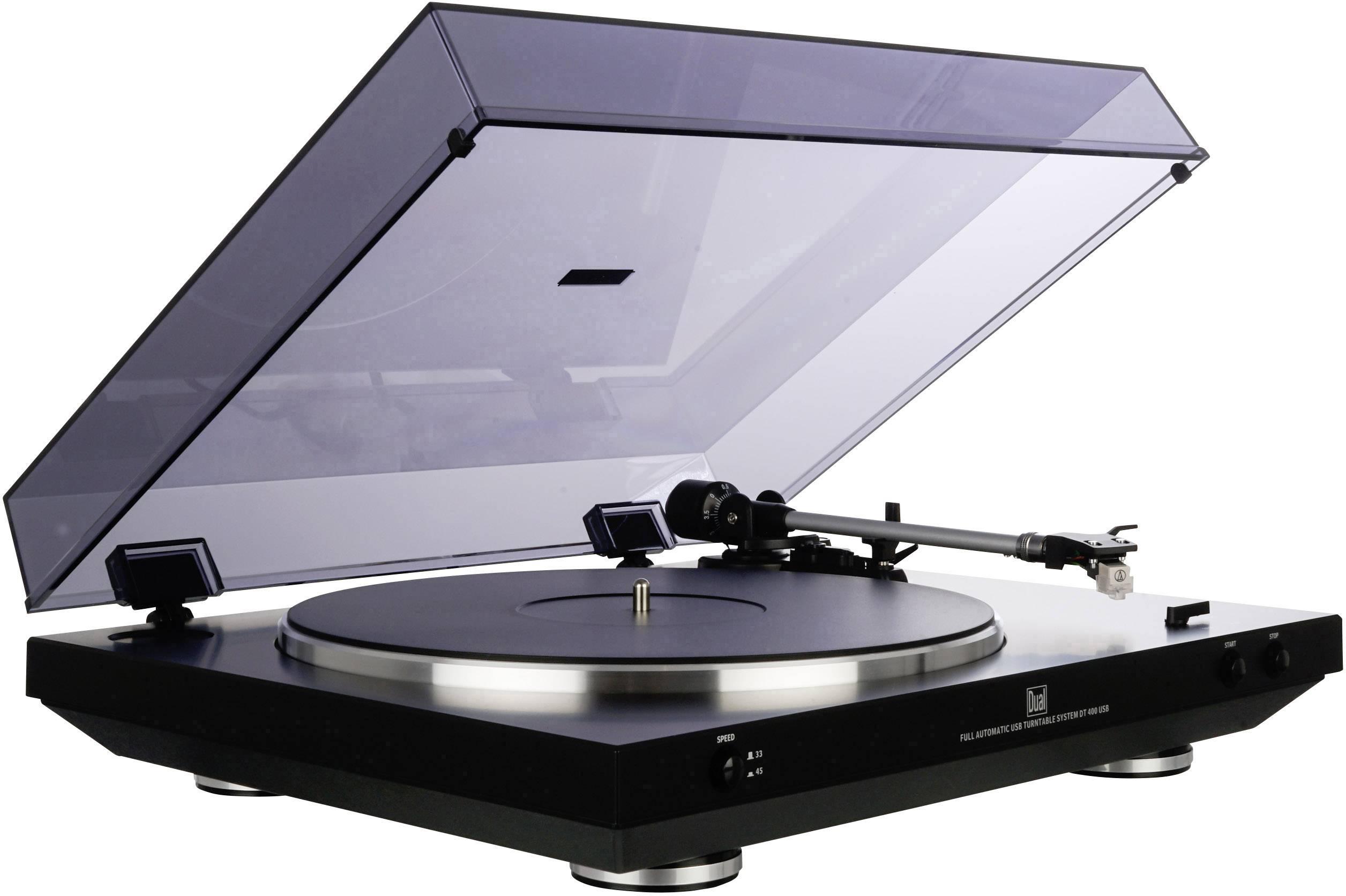 USB gramofon Dual DT 400 USB, řemínkový pohon, černá