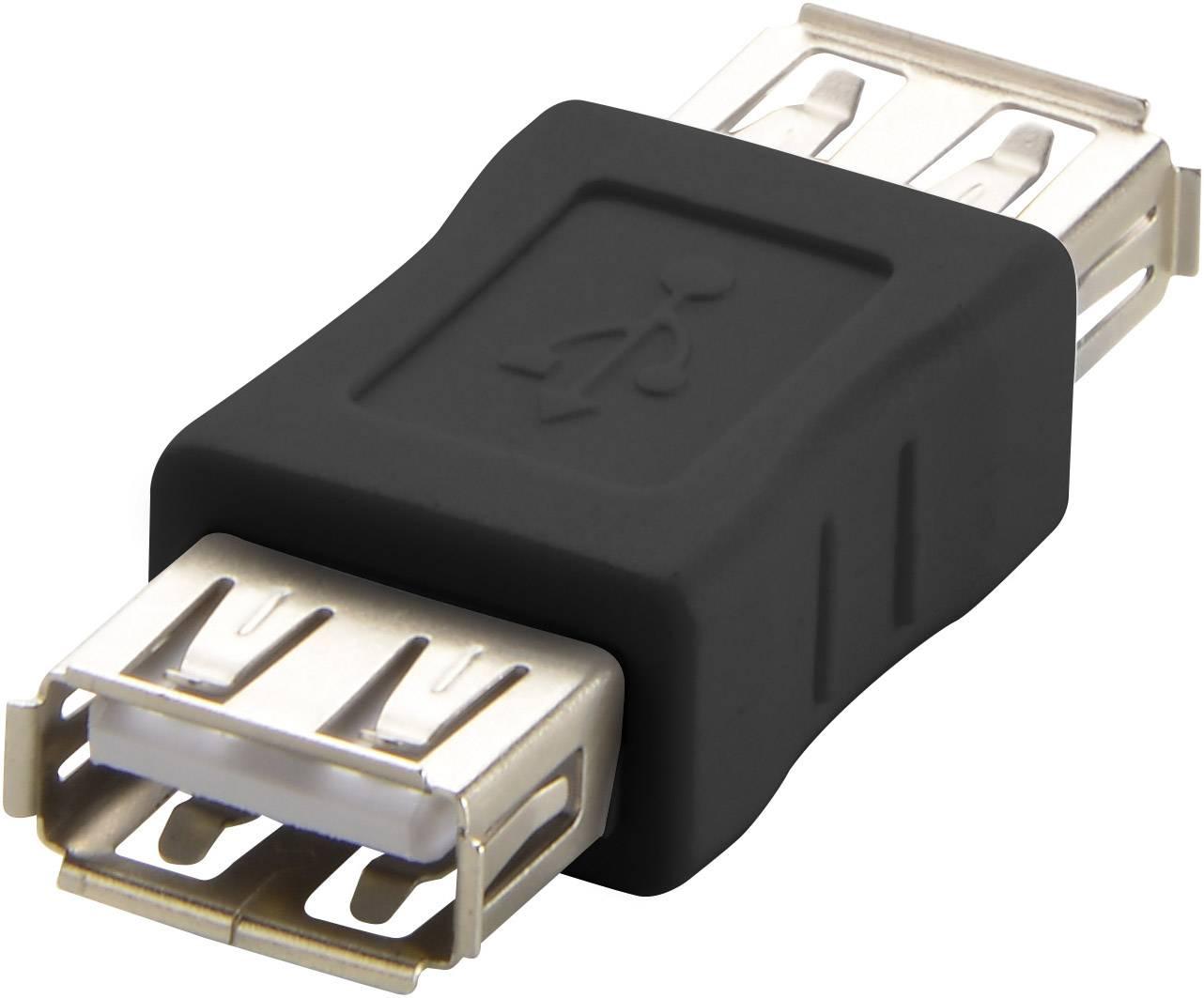 USB adaptér RENKFORCE 1x USB 2.0 zásuvka ⇔ 1x USB 2.0 zásuvka, čierna