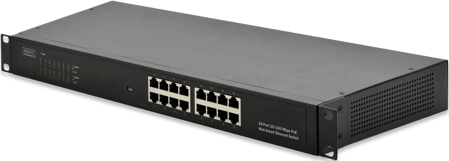 Síťový switch RJ45 Digitus Professional, 16 portů, 100 Mbit/s, funkce PoE