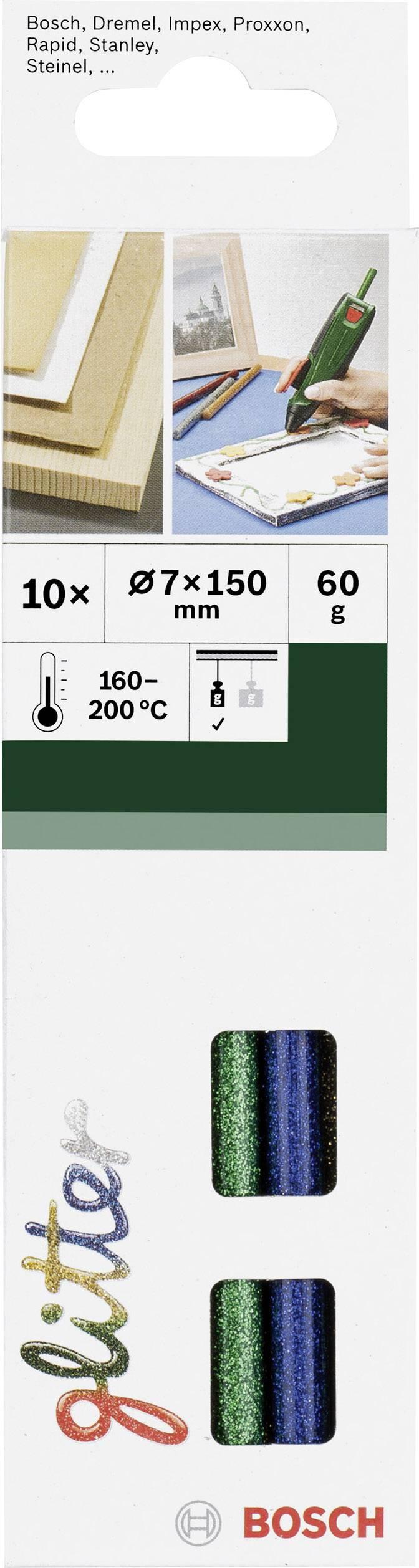Lepicí tyčinky Bosch Accessories 2609256D31, Ø 7 mm, délka 150 mm, 10 ks, různé barvy tříděné (třpyt)