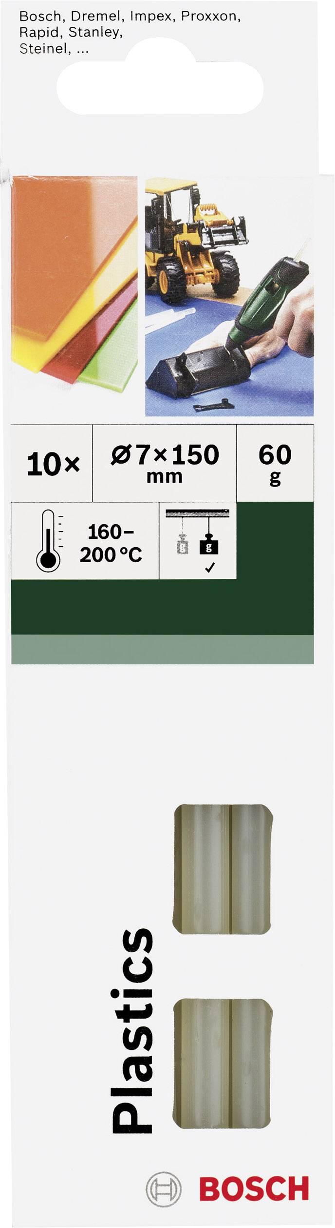 Lepicí tyčinky Bosch Accessories Plastics 2609256D32, Ø 7 mm, délka 150 mm, 10 ks, transparentní
