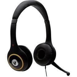 Headset k PC USB na kabel, stereo V7 Videoseven HU511-2EP na uši černá