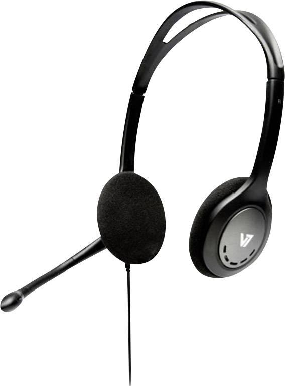 Headset k PC jack 3,5 mm na kabel, stereo V7 Videoseven HA201-2EP na uši černá/stříbrná