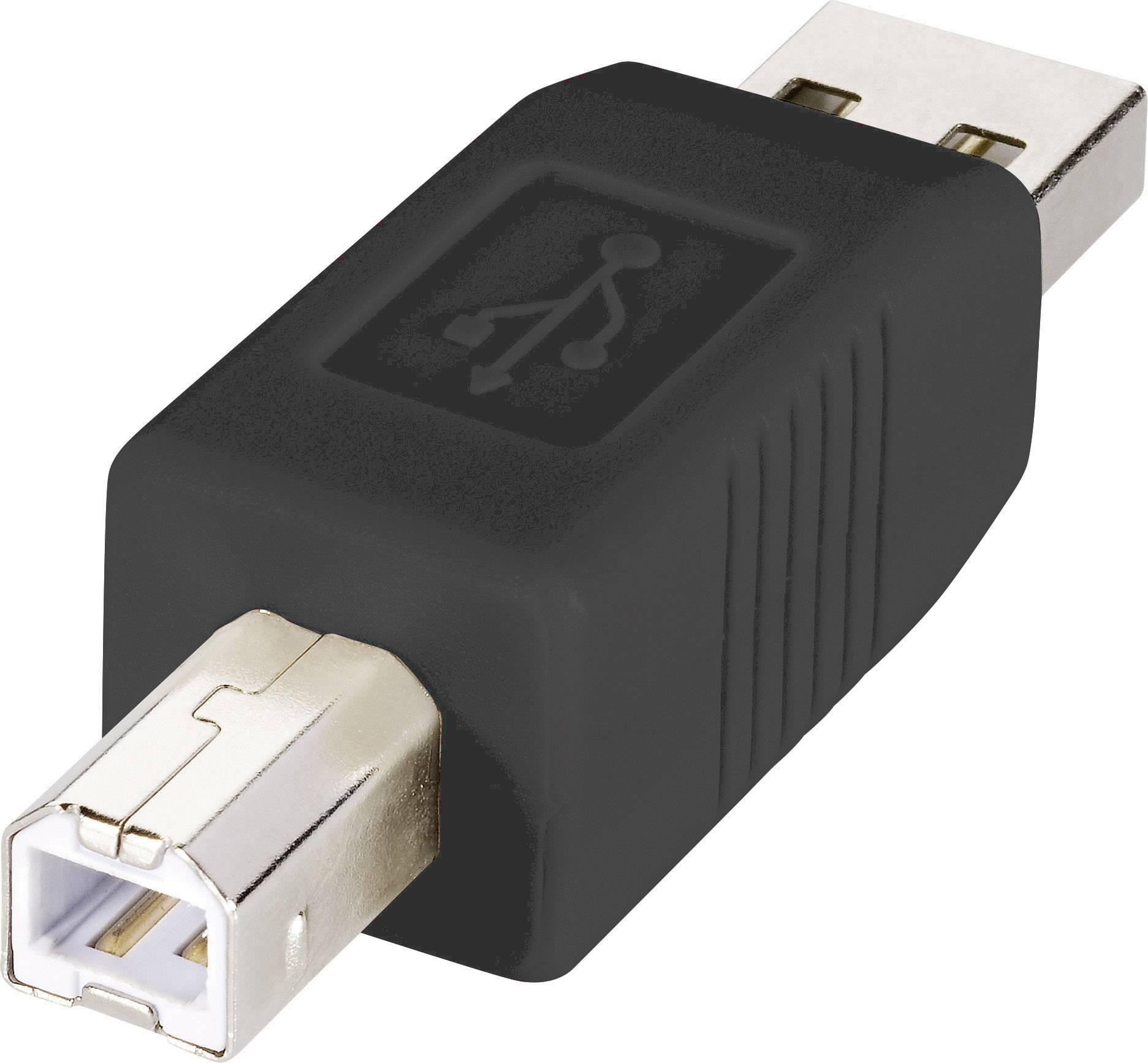 USB adaptér RENKFORCE 1x USB 2.0 zástrčka ⇔ 1x USB 2.0 zástrčka B, čierna, pozlátený