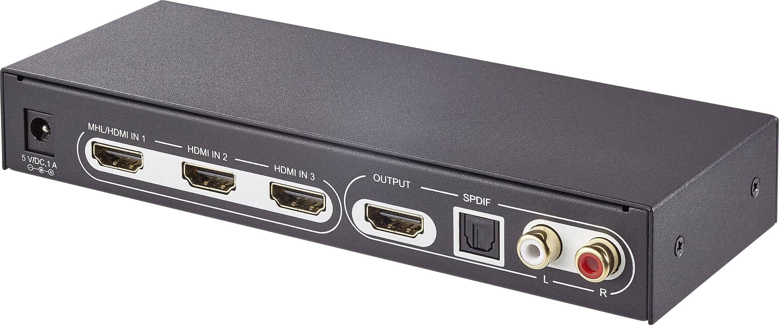 Prepínač HDMI SpeaKa Professional 1360279 SP-5441116, s 3 portmi