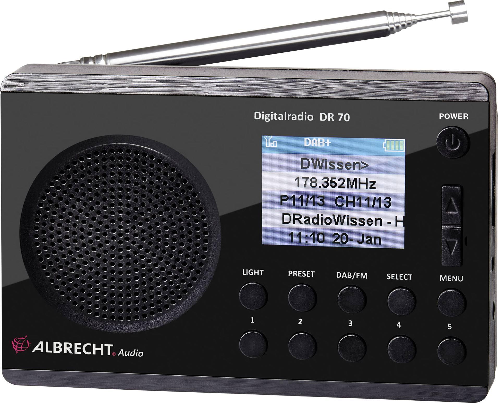 DAB+ rádio Albrecht DR 70, FM, čierna